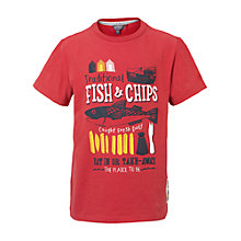 Buy Fat Face Boys' Fish and Chips T-Shirt, Red Online at johnlewis.com