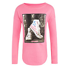 Buy Converse Girls' Drop Shoulder Photo T-Shirt, Pink Online at johnlewis.com
