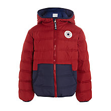 Buy Converse Boys' Colour Block Quilted Jacket, Red/Navy Online at johnlewis.com