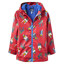 Buy Joules Boys' Skipper Monkey Waterproof Coat, Red/Multi Online at johnlewis.com