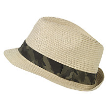 Buy Fat Face Children's Bug Camo Trilby Hat, Natural Online at johnlewis.com