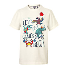 Buy Fat Face Boys' Let The Games Begin Print T-Shirt, Ecru Online at johnlewis.com