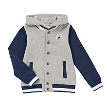 Buy Converse Boys' Knitted Varsity Jacket, Grey Heather Online at johnlewis.com