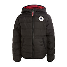 Buy Converse Boys' Quilted Hooded Jacket, Red/Navy Online at johnlewis.com