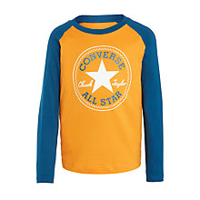 Buy Converse Boys' Core Raglan Print T-Shirt, Orange Online at johnlewis.com