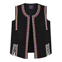 Buy Violeta by Mango Embroidered Cotton Gilet, Black Online at johnlewis.com