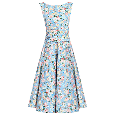 Jolie Moi Floral 50s Wrap Belt Dress, Blue