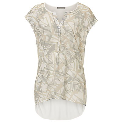 Betty & Co. Cap Sleeved Print Top, Cream