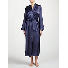 Buy John Lewis Long Silk Robe, Grey Smoke Online at johnlewis.com