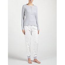 Buy John Lewis Long Sleeve Ribbed Top and Star Print Pyjama Set, Grey/Ivory Online at johnlewis.com