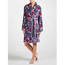 Buy John Lewis Rose Print Robe, Grey/Pink Online at johnlewis.com
