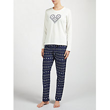 Buy John Lewis Heart Fair Isle Pyjama Set, Navy/Ivory Online at johnlewis.com