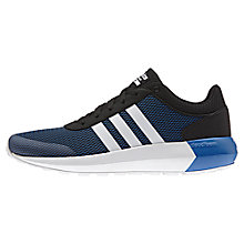 Buy Adidas Neo Cloudfoam Men's Race Trainers, Core Black/White/Blue Online at johnlewis.com
