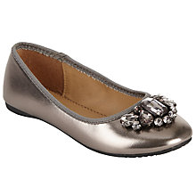 Buy John Lewis Children's Jewel Pump Shoes, Pewter Online at johnlewis.com