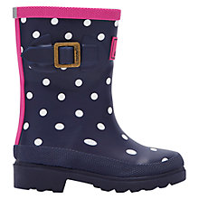 Buy Little Joule Girls' Spotted Wellington Boots, Navy Online at johnlewis.com