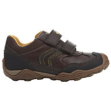 Buy Geox Children's JR Arno Rip-Tape Shoes, Brown/Yellow Online at johnlewis.com