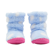 Buy Joules Children's Padabout Spots Slippers, Sky Blue Online at johnlewis.com