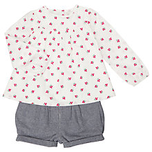 Buy John Lewis Baby Blouse And Shorts Set, Cream/Pink Online at johnlewis.com