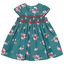 Buy John Lewis Baby Floral Smock Dress, Green Online at johnlewis.com