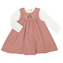Buy John Lewis Baby Herringbone Pinafore Dress and T-Shirt Set, Red Online at johnlewis.com