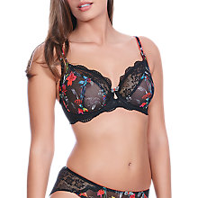 Buy Freya Paradise Plunge Balcony Bra, Black/Multi Online at johnlewis.com