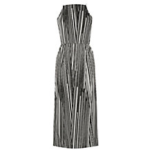 Buy Warehouse Stripe Geo Plisse Belted Dress, Black Online at johnlewis.com