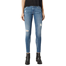 Buy AllSaints Mast Destroys Skinny Jeans, Fresh Blue Online at johnlewis.com