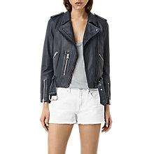 Buy AllSaints Wyatt Zip Leather Biker Jacket Online at johnlewis.com