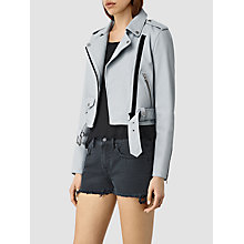 Buy AllSaints Baron Biker Jacket, Sky Blue, Sky Blue Online at johnlewis.com
