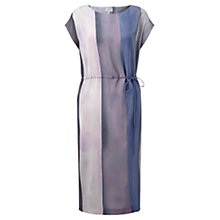 Buy Jigsaw Water Stripe Ruched Silk Dress, Sugared Violet Online at johnlewis.com