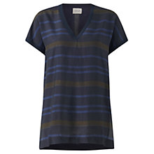 Buy Jigsaw Fabric Front Tunic Top, Navy Online at johnlewis.com