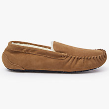 Buy John Lewis Moccasin Faux Fur Lined Suede Slippers, Chestnut Online at johnlewis.com