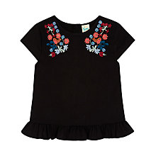 Buy Yumi Girl Robin Floral Peplum Top, Black Online at johnlewis.com