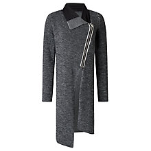 Buy Crea Concept Asymmetric Zip Textured Cardigan, Black/White Online at johnlewis.com