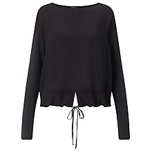 Buy Crea Concept Drawstring Hem Top, Black/Grey Online at johnlewis.com