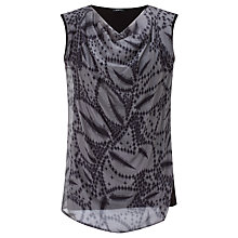 Buy Crea Concept Printed Silk Front Top, Grey/Black Online at johnlewis.com