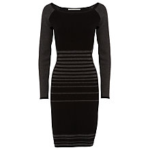 Buy Max Studio Knit Stripe Front Dress, Black/Charcoal Online at johnlewis.com