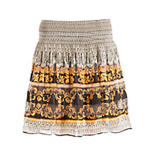 Buy Max Studio Smock Detail Print Skirt, Apricot/Black Online at johnlewis.com