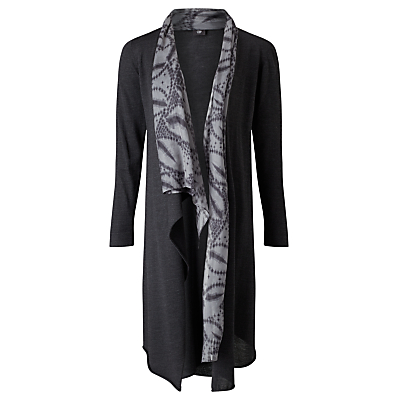 Crea Concept Longline Printed Silk Trim Cardigan, Grey/Black
