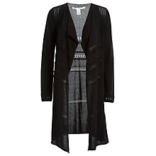 Buy Max Studio Long Sleeve Pointelle Drape Cardigan, Black Online at johnlewis.com