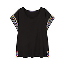 Buy Violeta by Mango Embroidered T-Shirt, Black Online at johnlewis.com