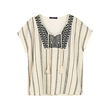 Buy Violeta by Mango Embroidered Cotton Tassel Blouse, Light Beige Online at johnlewis.com
