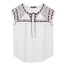Buy Violeta by Mango Embroidered Blouse, Natural White Online at johnlewis.com