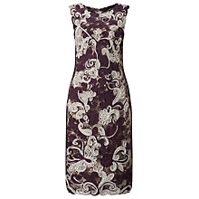 Buy Phase Eight Natalia Tapework Dress, Aubergine/Cream Online at johnlewis.com