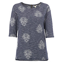 Buy White Stuff Sketch Book Embroidered Stripe Tee, Illustrator Blue Online at johnlewis.com