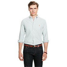 Buy Polo Ralph Lauren Slim Fit Cotton Shirt, Green/White Online at johnlewis.com