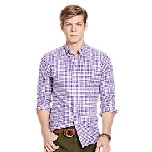 Buy Polo Ralph Lauren Slim Fit Button Down Pin Point Collar Shirt, Purple/White Online at johnlewis.com