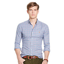 Buy Polo Ralph Lauren Check Slim Fit Sport Shirt, Sky Blue/Orange Online at johnlewis.com