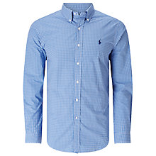 Buy Polo Ralph Lauren Slim Fit Button Down Sports Shirt, Blue/White Online at johnlewis.com