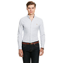Buy Polo Ralph Lauren Slim Fit Button Down Pin Point Collar Shirt, White/Blue Multi Online at johnlewis.com
